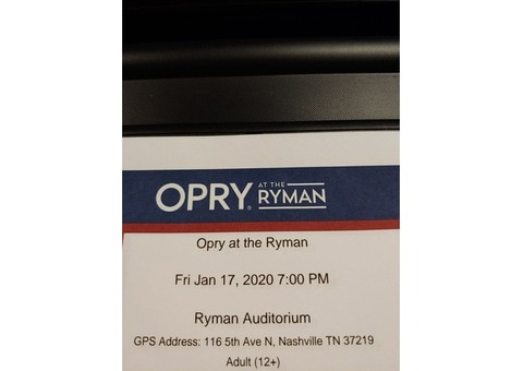 Four Tickets to Opry at the Ryman